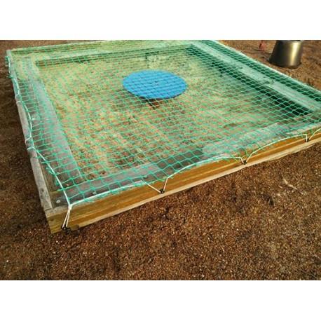 Sandkasse net inkl. fastgørelse og bord i midten.