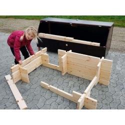 Opbevaringskasse inkl. 100 stk. byggebrædder