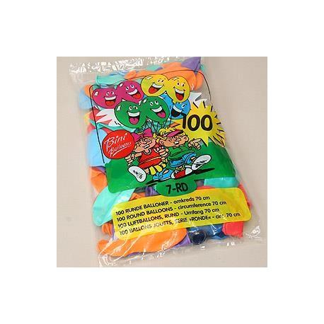 100 stk. Runde. Ass. farver. Lækre, farvestrålende balloner fra dansk producent.