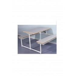 Væghængt klapbord med bænk
