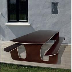 Udendørs væghængt bord-/bænkesæt med gasfjeder