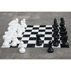 Store Skak figurer inkl. 32 felter - Komplet sæt