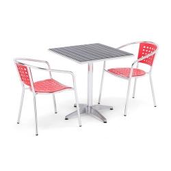 Udendørs cafégruppe, bord + 2 stole, alu/rød