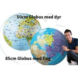 Globus udsmykket med flag og dyr