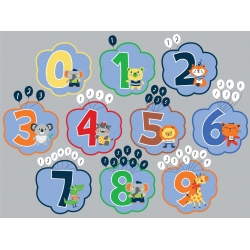 Legetæppe med tallene fra 0-10 og et ur