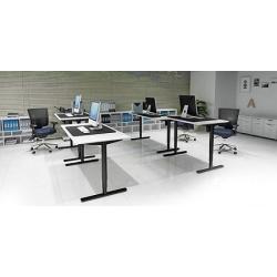 Hæve-/sænkebord 160 x 80 - hvid med sort stel