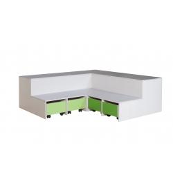 Scenetrappe hjørne med 4 stk. opbevaringskasser på hjul