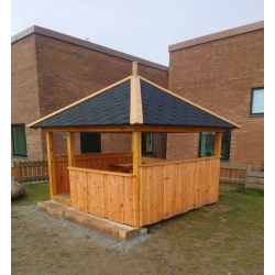 Minipavillon 2,5x2,5 meter med shingels tagpap